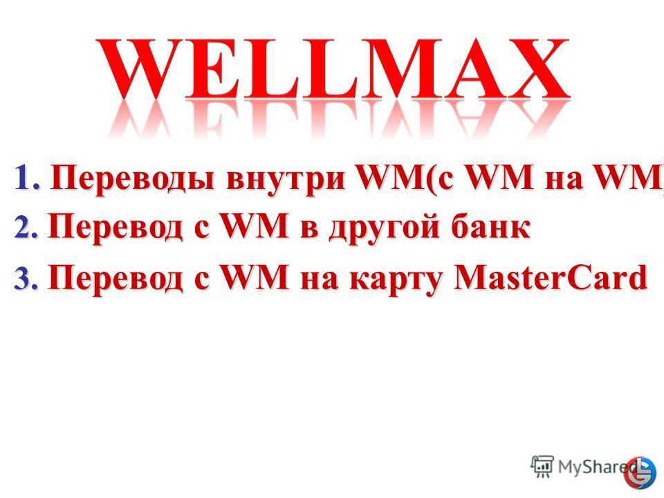 1.Переводы внутри WM(c WM на WM) 1. Переводы внутри WM(c WM на WM) 2. Перевод с WM в другой банк 3. Перевод с WM на карту MasterCard