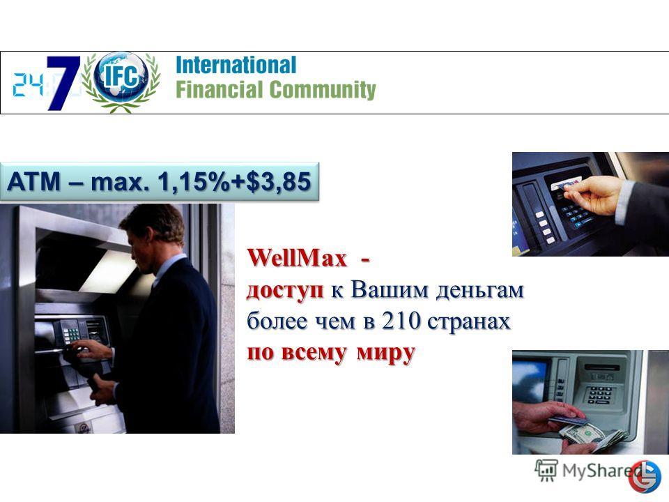 ATM – max. 1,15%+$3,85 WellMax - доступ к Вашим деньгам более чем в 210 странах по всему миру