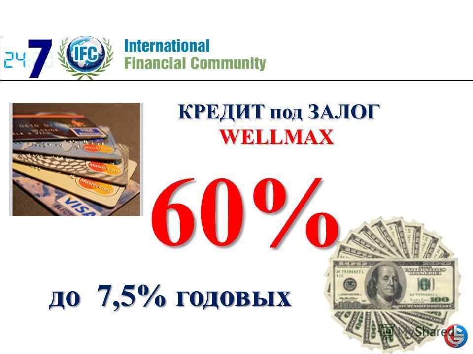 КРЕДИТ под ЗАЛОГ WELLMAX WELLMAX до 7,5% годовых 60%
