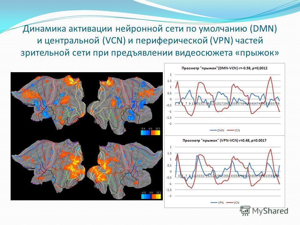 Динамика активации нейронной сети по умолчанию (DMN) и центральной (VCN) и периферической (VPN) частей зрительной сети при предъявлении видеосюжета «прыжок»