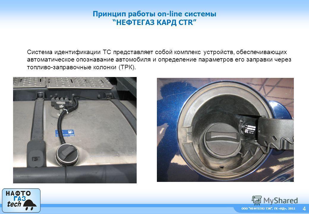 Принцип работы on-line системыНЕФТЕГАЗ КАРД CTR 4 Система идентификации ТС представляет собой комплекс устройств, обеспечивающих автоматическое опознавание автомобиля и определение параметров его заправки через топливо-заправочные колонки (ТРК). ООО