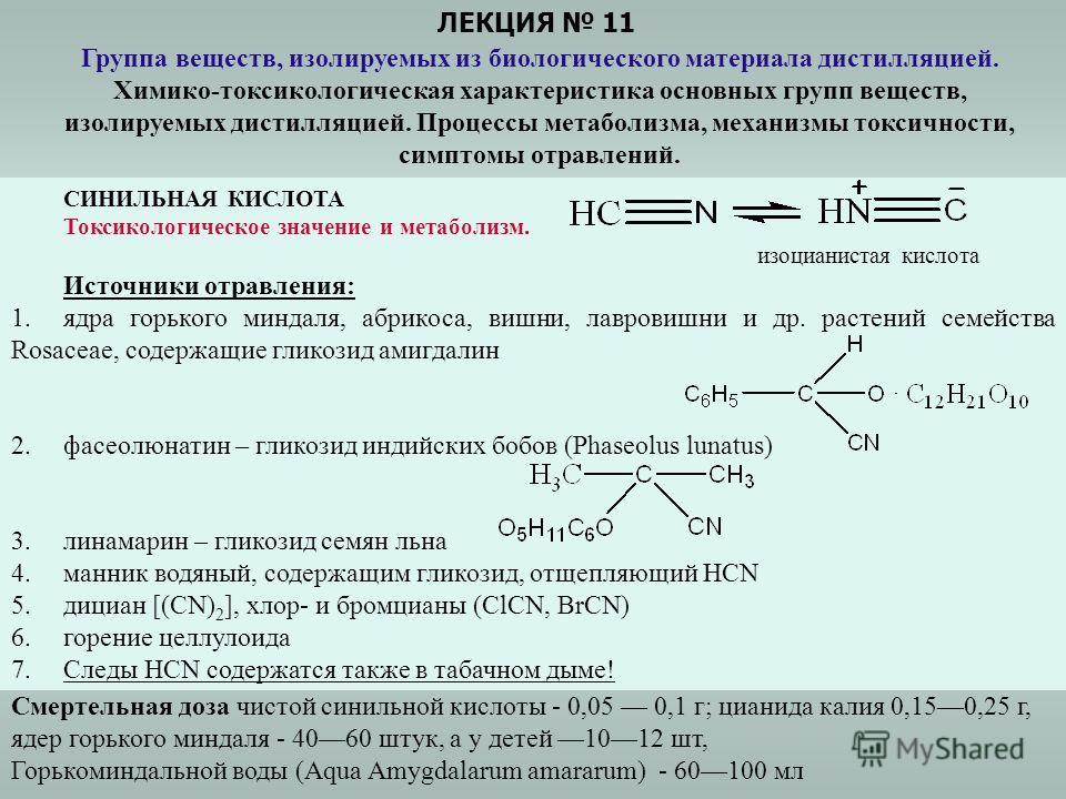 ЛЕКЦИЯ 11 Группа веществ, изолируемых из биологического материала дистилляцией. Химико-токсикологическая характеристика основных групп веществ, изолируемых дистилляцией. Процессы метаболизма, механизмы токсичности, симптомы отравлений. СИНИЛЬНАЯ КИСЛ