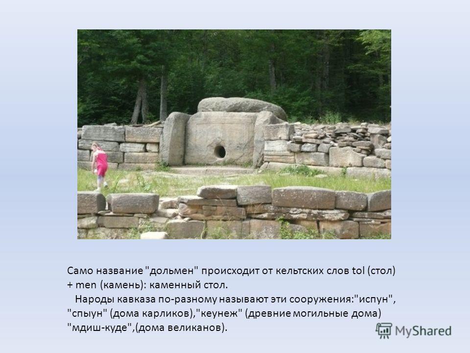 Само название дольмен происходит от кельтских слов tol (стол) + men (камень): каменный стол. Народы кавказа по-разному называют эти сооружения:испун, спыун (дома карликов),кеунеж (древние могильные дома) мдиш-куде,(дома великанов).