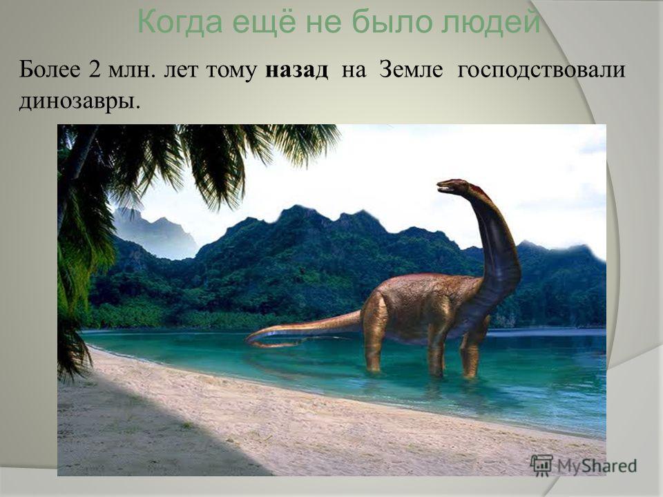 Когда ещё не было людей Более 2 млн. лет тому назад на Земле господствовали динозавры.