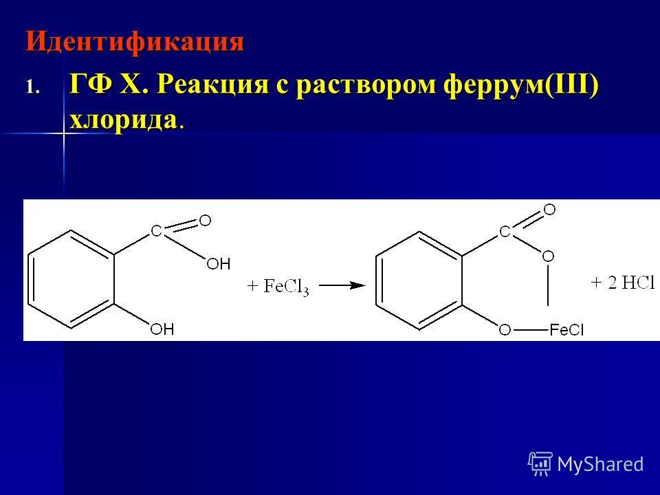Идентификация 1. ГФ Х. Реакция с раствором феррум(ІІІ) хлорида.