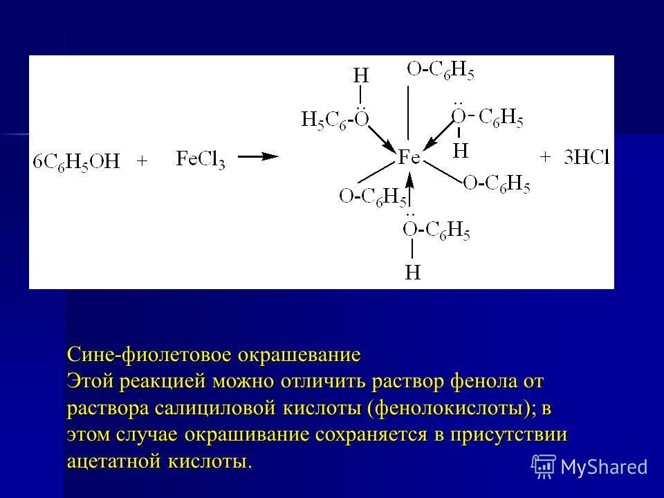 Сине-фиолетовое окрашевание Этой реакцией можно отличить раствор фенола от раствора салициловой кислоты (фенолокислоты); в этом случае окрашивание сохраняется в присутствии ацетатной кислоты.
