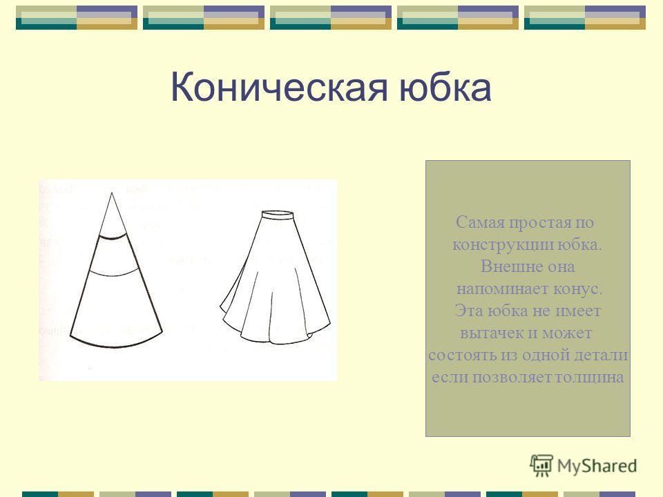 Прямая юбка Состоит из 2-х деталей:переднего и заднего полотнищ. Особенностью конст- рукции прямой юбки являются вытачки, с помощью которых изделию придают форму, соответствую- щую фигуре