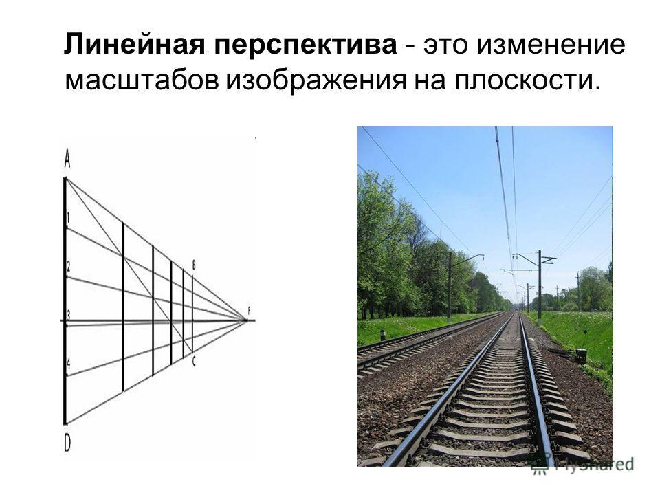 Линейная перспектива - это изменение масштабов изображения на плоскости.