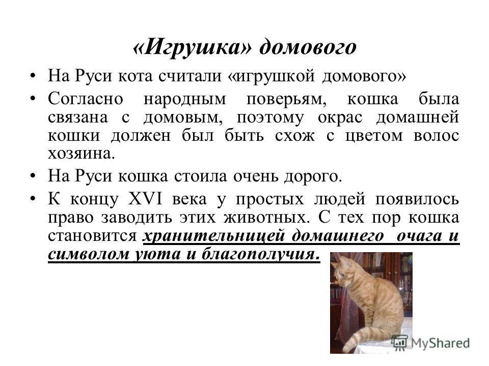«Игрушка» домового На Руси кота считали «игрушкой домового» Согласно народным поверьям, кошка была связана с домовым, поэтому окрас домашней кошки должен был быть схож с цветом волос хозяина. На Руси кошка стоила очень дорого. К концу XVI века у прос