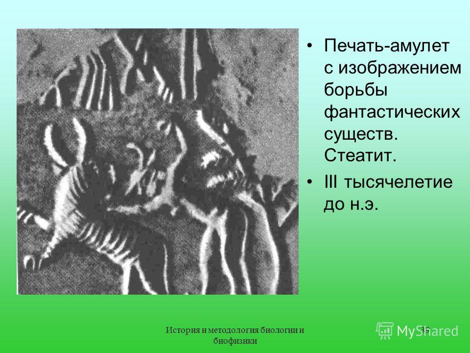 Печать-амулет с изображением борьбы фантастических существ. Стеатит. III тысячелетие до н.э. 39История и методология биологии и биофизики
