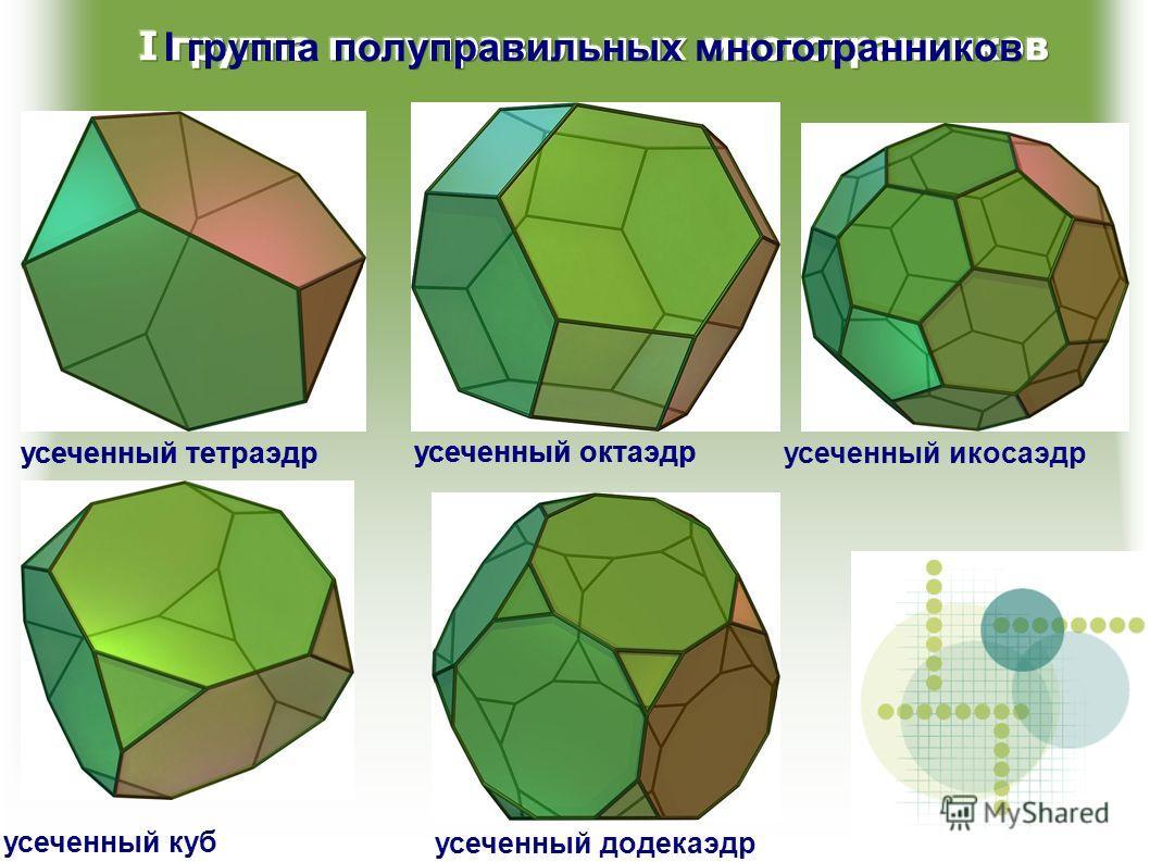 I группа полуправильных многогранников усеченный тетраэдр усеченный октаэдр усеченный икосаэдрусеченный тетраэдр усеченный куб усеченный додекаэдр