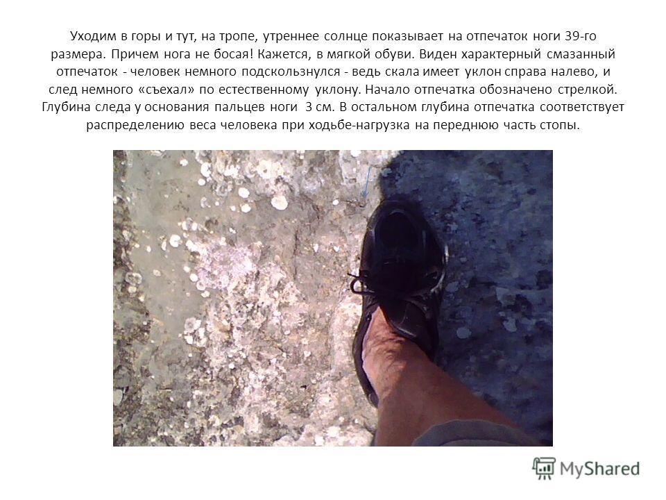 Уходим в горы и тут, на тропе, утреннее солнце показывает на отпечаток ноги 39-го размера. Причем нога не босая! Кажется, в мягкой обуви. Виден характерный смазанный отпечаток - человек немного подскользнулся - ведь скала имеет уклон справа налево, и