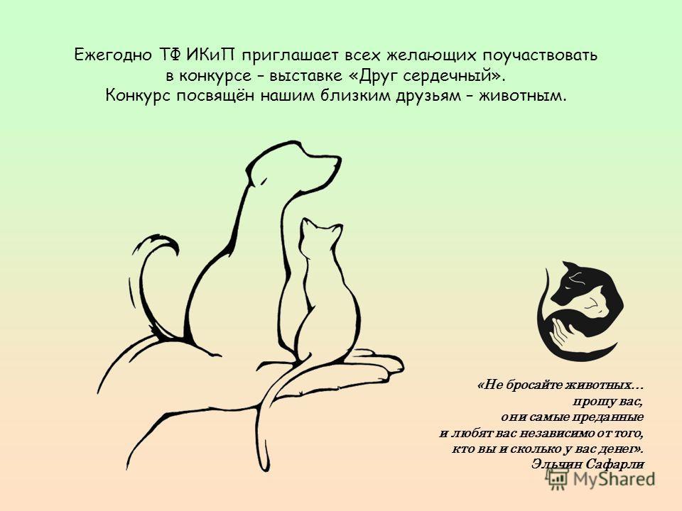 Ежегодно ТФ ИКиП приглашает всех желающих поучаствовать в конкурсе – выставке «Друг сердечный». Конкурс посвящён нашим близким друзьям – животным. «Не бросайте животных… прошу вас, они самые преданные и любят вас независимо от того, кто вы и сколько