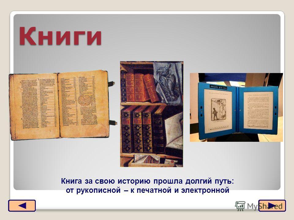 Книги Книга за свою историю прошла долгий путь: от рукописной – к печатной и электронной