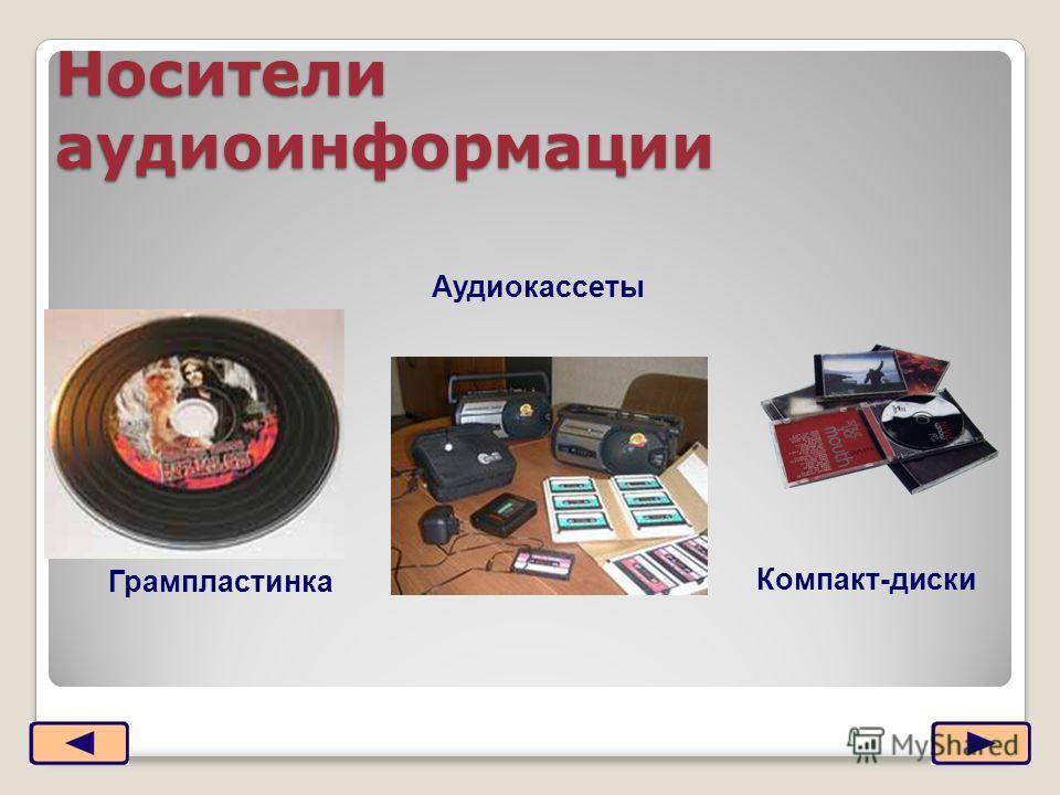 Носители аудиоинформации Грампластинка Аудиокассеты Компакт-диски