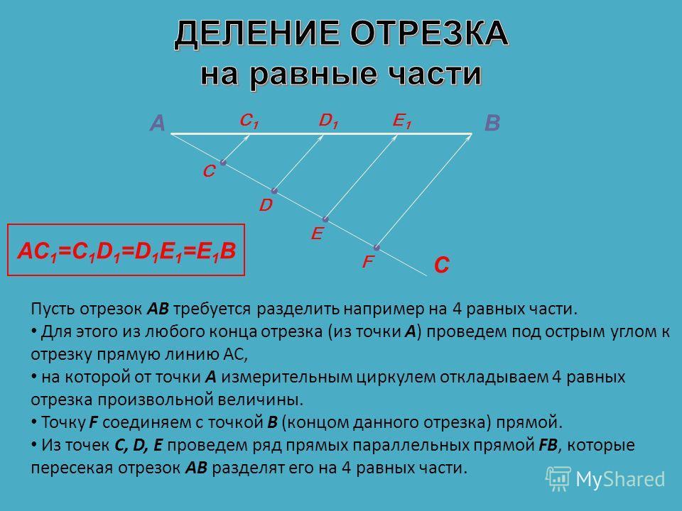 АВ С C D F E D1D1 C1C1 E1E1 AC 1 =C 1 D 1 =D 1 E 1 =E 1 B Пусть отрезок АВ требуется разделить например на 4 равных части. Для этого из любого конца отрезка (из точки А) проведем под острым углом к отрезку прямую линию АС, на которой от точки А измер
