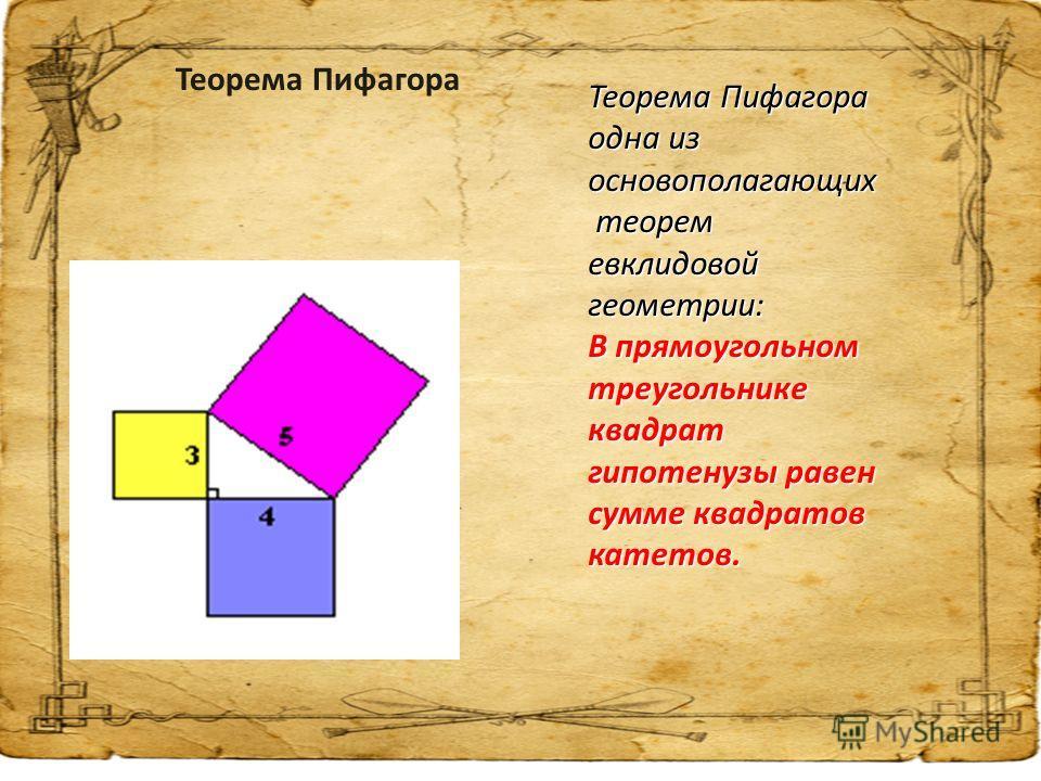 Теорема Пифагора одна из основополагающих теорем евклидовой геометрии: теорем евклидовой геометрии: В прямоугольном треугольнике квадрат гипотенузы равен сумме квадратов катетов. Теорема Пифагора