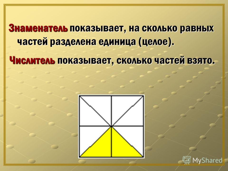 Знаменатель показывает, на сколько равных частей разделена единица (целое). Числитель показывает, сколько частей взято.