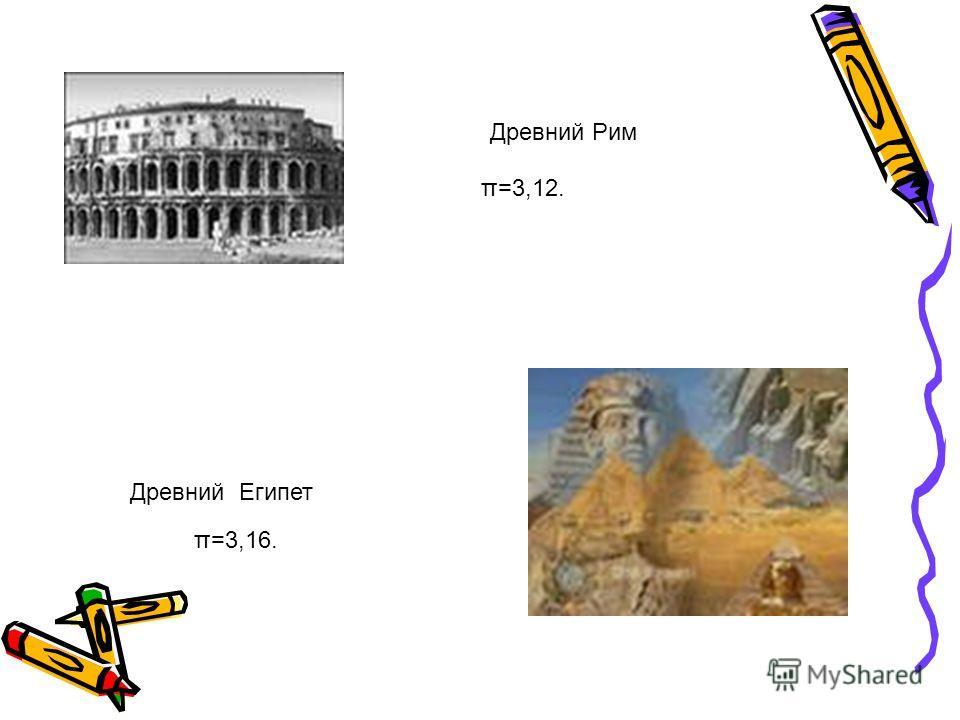 Древний Рим π=3,12. Древний Египет π=3,16.