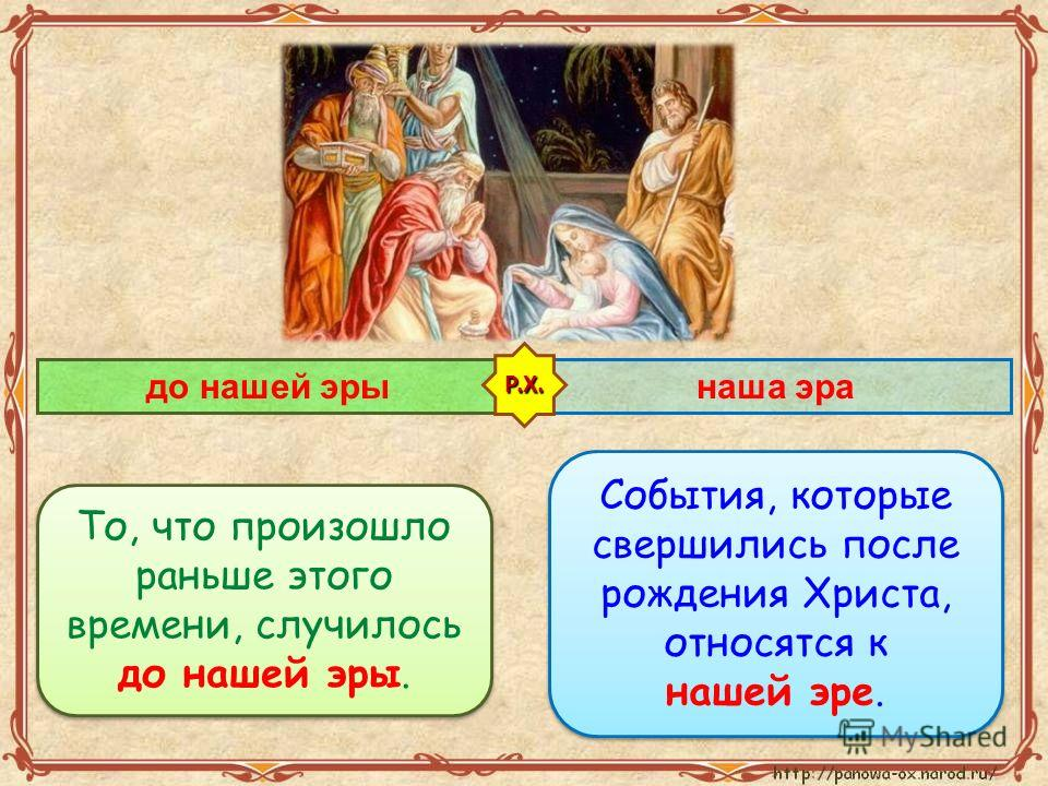 События, которые свершились после рождения Христа, относятся к нашей эре. События, которые свершились после рождения Христа, относятся к нашей эре. до нашей эрынаша эра То, что произошло раньше этого времени, случилось до нашей эры. Р.Х.