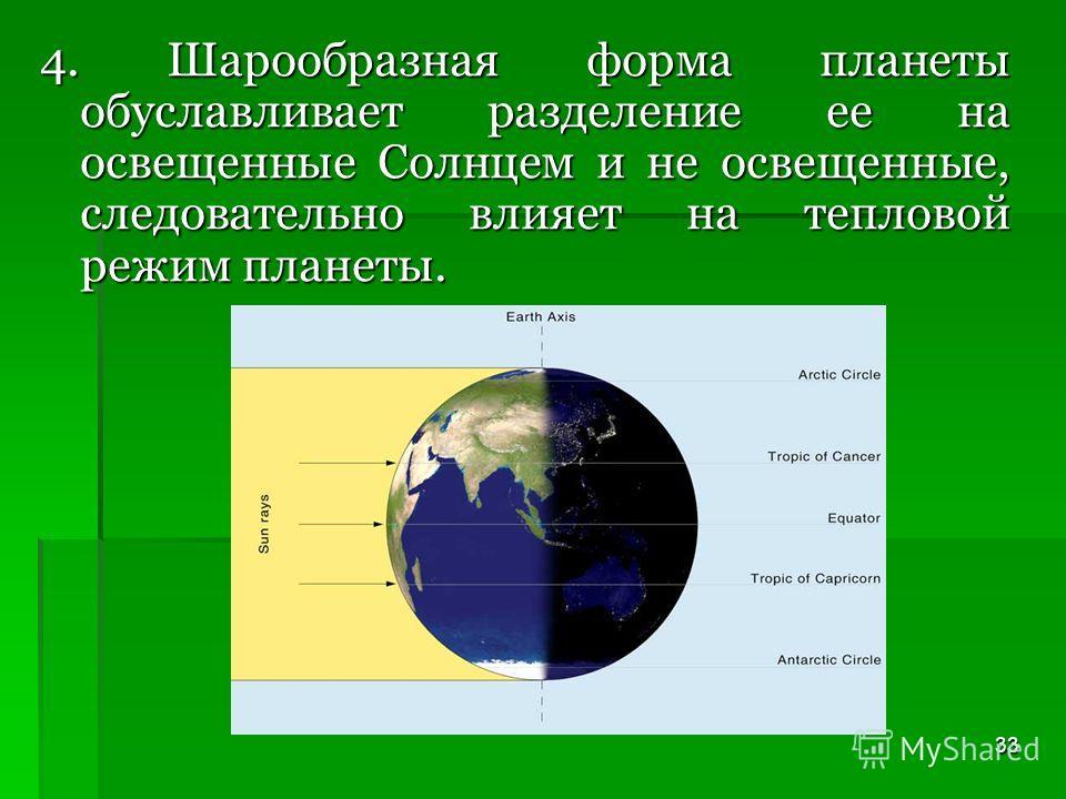 33 4. Шарообразная форма планеты обуславливает разделение ее на освещенные Солнцем и не освещенные, следовательно влияет на тепловой режим планеты.