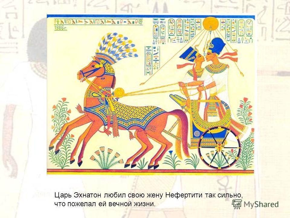 Царь Эхнатон любил свою жену Нефертити так сильно, что пожелал ей вечной жизни.