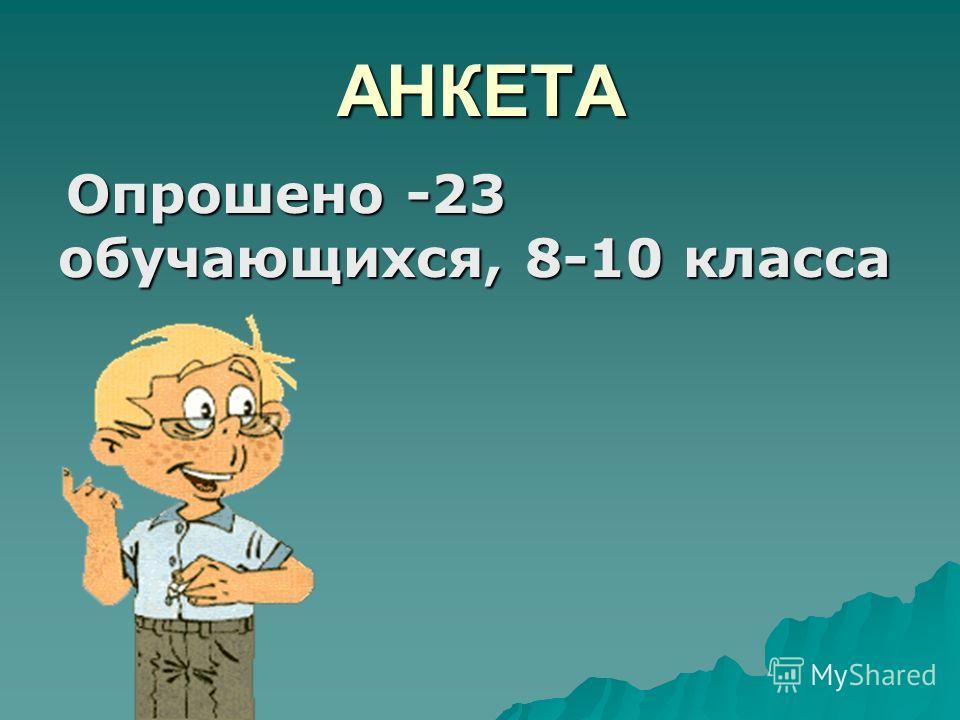 АНКЕТА Опрошено -23 Опрошено -23 обучающихся, 8-10 класса