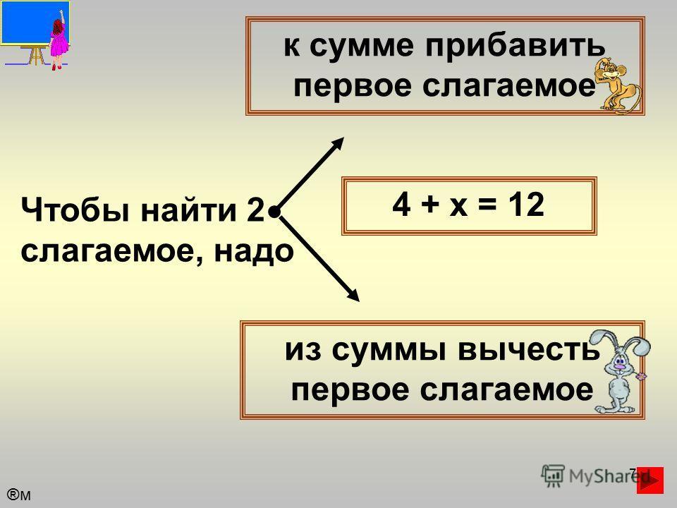 7 Чтобы найти 2 слагаемое, надо к сумме прибавить первое слагаемое из суммы вычесть первое слагаемое 4 + х = 12 ®м®м