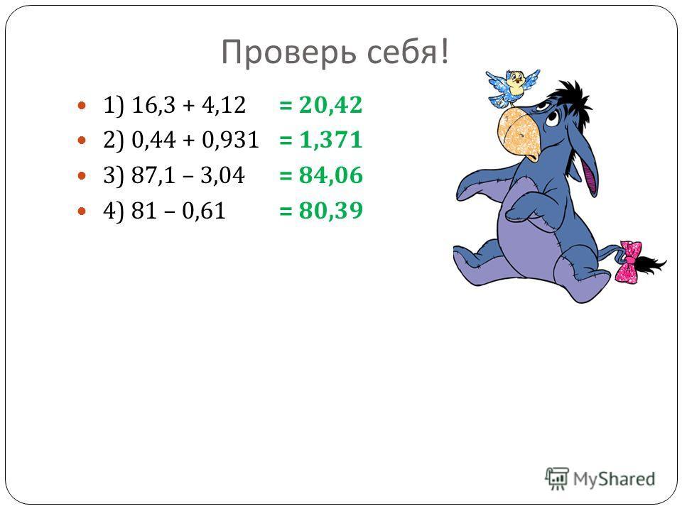 Проверь себя ! 1) 16,3 + 4,12 2) 0,44 + 0,931 3) 87,1 – 3,04 4) 81 – 0,61 = 20,42 = 1,371 = 84,06 = 80,39
