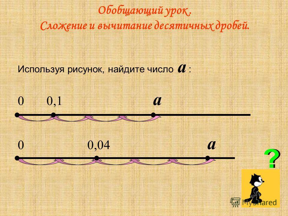 Обобщающий урок. Сложение и вычитание десятичных дробей. Используя рисунок, найдите число а : 00,1 а 0 0,04 а
