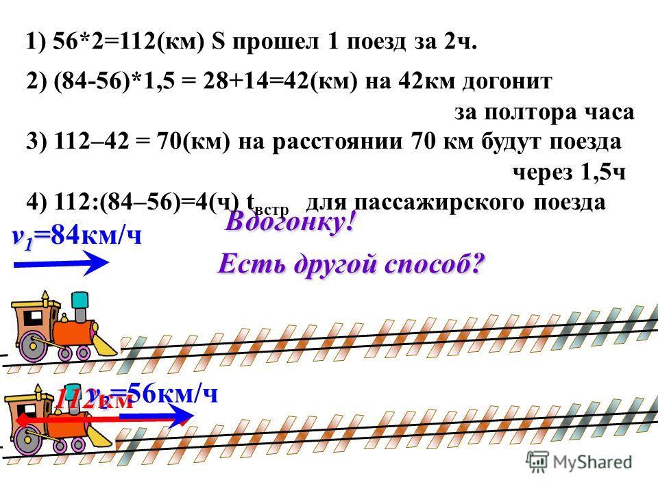 2) (84-56)*1,5 = 28+14=42(км) на 42км догонит за полтора часа 1) 56*2=112(км) S прошел 1 поезд за 2ч. v 1 = v 1 =84км/ч 112 112кмВдогонку! 3) 112–42 = 70(км) на расстоянии 70 км будут поезда через 1,5ч 4) 112:(84–56)=4(ч) t встр для пассажирского пое