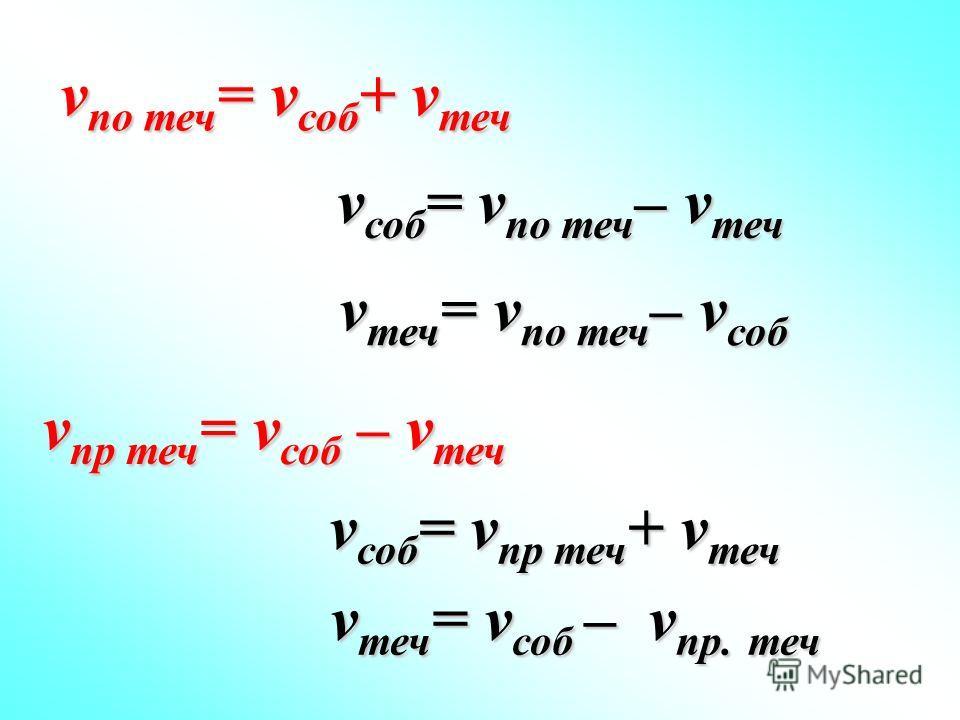 v по теч = v соб + v теч v пр теч = v соб – v теч v соб = v по теч – v теч v теч = v по теч – v соб v соб = v пр теч + v теч v теч = v соб – v пр. теч