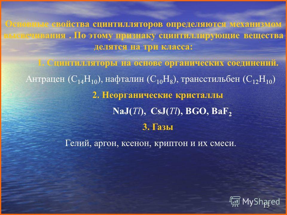 13 Основные свойства сцинтилляторов определяются механизмом высвечивания. По этому признаку сцинтиллирующие вещества делятся на три класса: 1. Сцинтилляторы на основе органических соединений. Антрацен (C 14 H 10 ), нафталин (C 10 H 8 ), трансстильбен