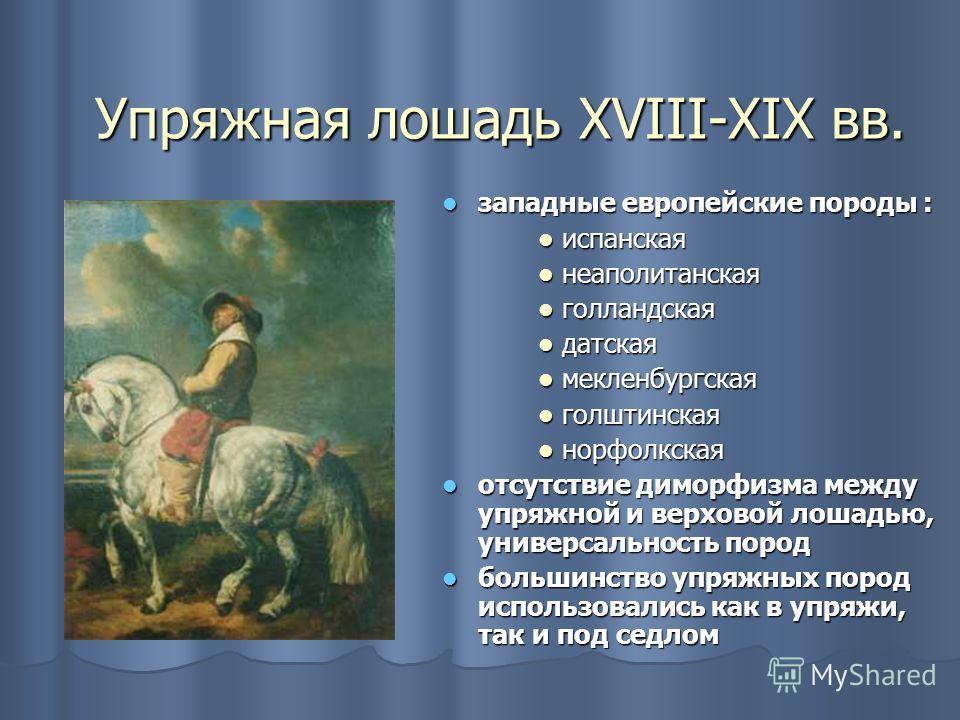 Упряжная лошадь XVIII-XIX вв. западные европейские породы : западные европейские породы : испанская испанская неаполитанская неаполитанская голландская голландская датская датская мекленбургская мекленбургская голштинская голштинская норфолкская норф