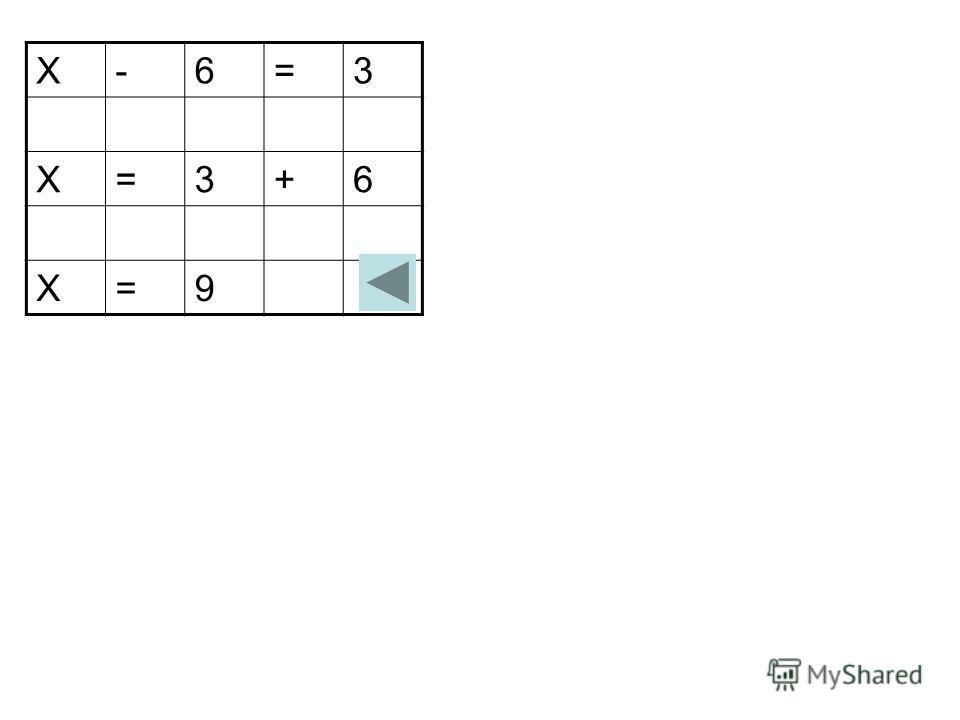 Х-6=3 Х=3+6 Х=9