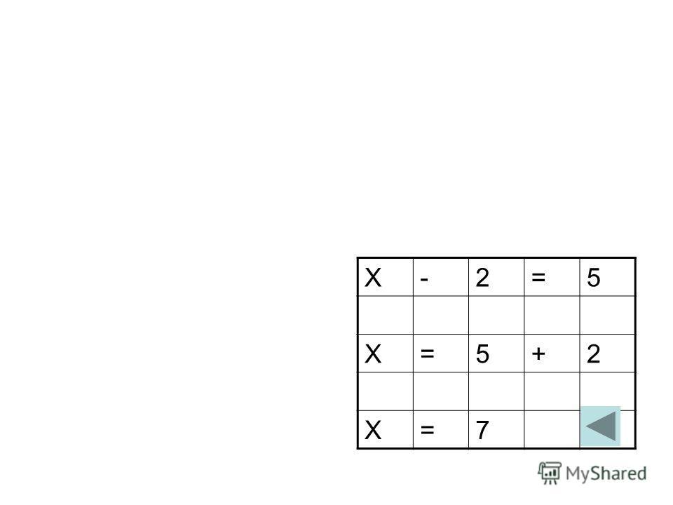 Х-2=5 Х=5+2 Х=7