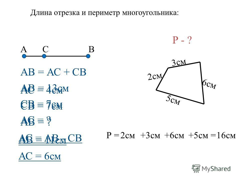 АВ = АС + СВ СВ Р = 3см 2см 5см 6см А Длина отрезка и периметр многоугольника: Р - ? 2см+3см+6см+5см =16см АС = 4см СВ = 7см АВ = ? АВ = 11см АВ = 13см СВ = 7см АС = ? АС = АВ - СВ АС = 6см