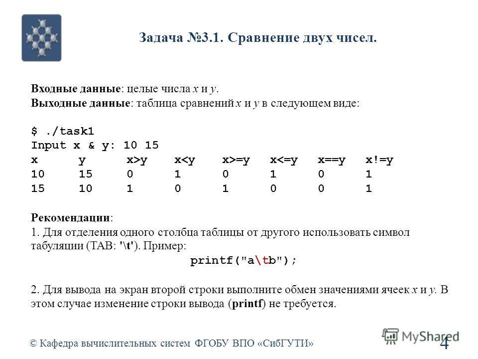 Задача 3.1. Сравнение двух чисел. © Кафедра вычислительных систем ФГОБУ ВПО «СибГУТИ» 4 Входные данные: целые числа x и y. Выходные данные: таблица сравнений x и y в следующем виде: $./task1 Input x & y: 10 15 xyx>yx =yx