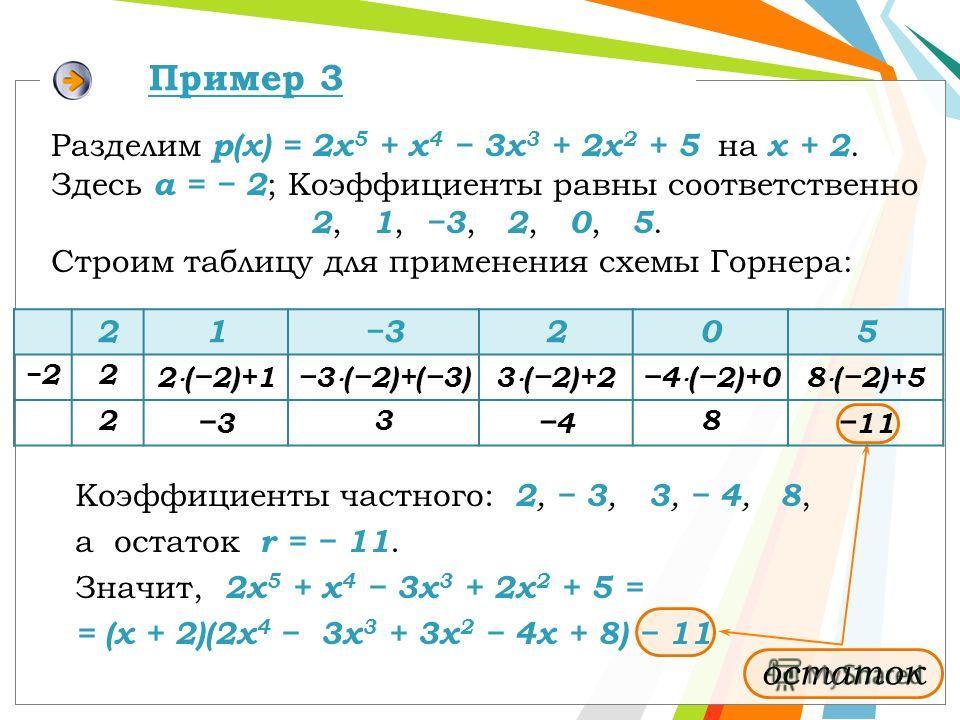 Коэффициенты частного: 2, 3, 3, 4, 8, а остаток r = 11. Значит, 2x 5 + x 4 3x 3 + 2x 2 + 5 = = (х + 2)(2x 4 3x 3 + 3x 2 4x + 8) 11 Разделим р(x) = 2x 5 + x 4 3x 3 + 2x 2 + 5 на x + 2. Здесь a = 2 ; Коэффициенты равны соответственно 2, 1, 3, 2, 0, 5.