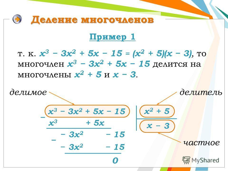 частное делитель Деление многочленов х 2 + 5 х 3 + 5х 3х 2 15 х 0 т. к. х 3 3х 2 + 5х 15 = (х 2 + 5)(х 3), то многочлен х 3 3х 2 + 5х 15 делится на многочлены х 2 + 5 и х 3. Пример 1 3 делимое х 3 3х 2 + 5х 15