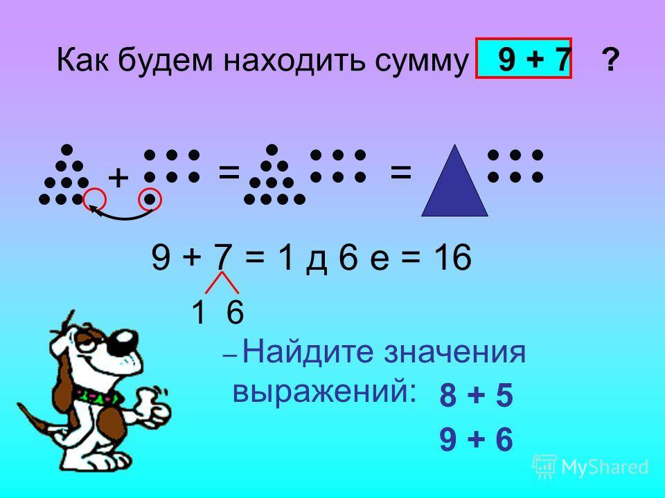 Как будем находить сумму 9 + 7 ? + == 9 + 7 = 1 д 6 е = 16 – Найдите значения выражений: 8 + 5 9 + 6 1 6