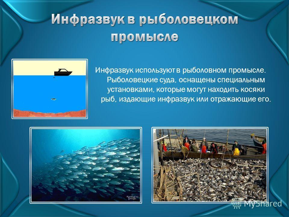 Инфразвук используют в рыболовном промысле. Рыболовецкие суда, оснащены специальным установками, которые могут находить косяки рыб, издающие инфразвук или отражающие его.