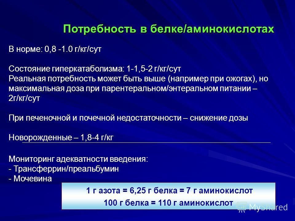 В норме: 0,8 -1.0 г/кг/сут Состояние гиперкатаболизма: 1-1,5-2 г/кг/сут Реальная потребность может быть выше (например при ожогах), но максимальная доза при парентеральном/энтеральном питании – 2г/кг/сут При печеночной и почечной недостаточности – сн