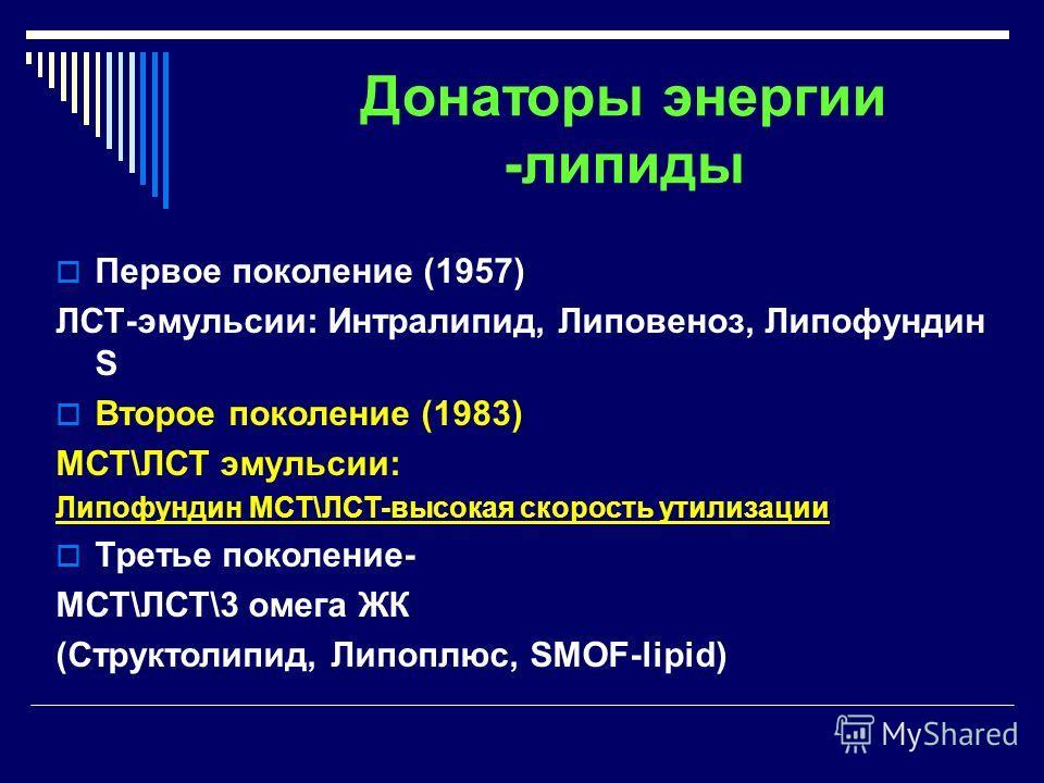 Донаторы энергии -липиды Первое поколение (1957) ЛСТ-эмульсии: Интралипид, Липовеноз, Липофундин S Второе поколение (1983) МСТ\ЛСТ эмульсии: Липофундин МСТ\ЛСТ-высокая скорость утилизации Третье поколение- МСТ\ЛСТ\3 омега ЖК (Структолипид, Липоплюс,