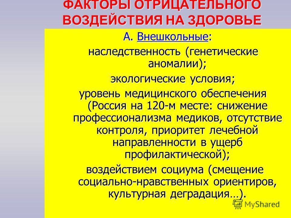 ФАКТОРЫ ОТРИЦАТЕЛЬНОГО ВОЗДЕЙСТВИЯ НА ЗДОРОВЬЕ А. Внешкольные: наследственность (генетические аномалии); наследственность (генетические аномалии); экологические условия; экологические условия; уровень медицинского обеспечения (Россия на 120-м месте: