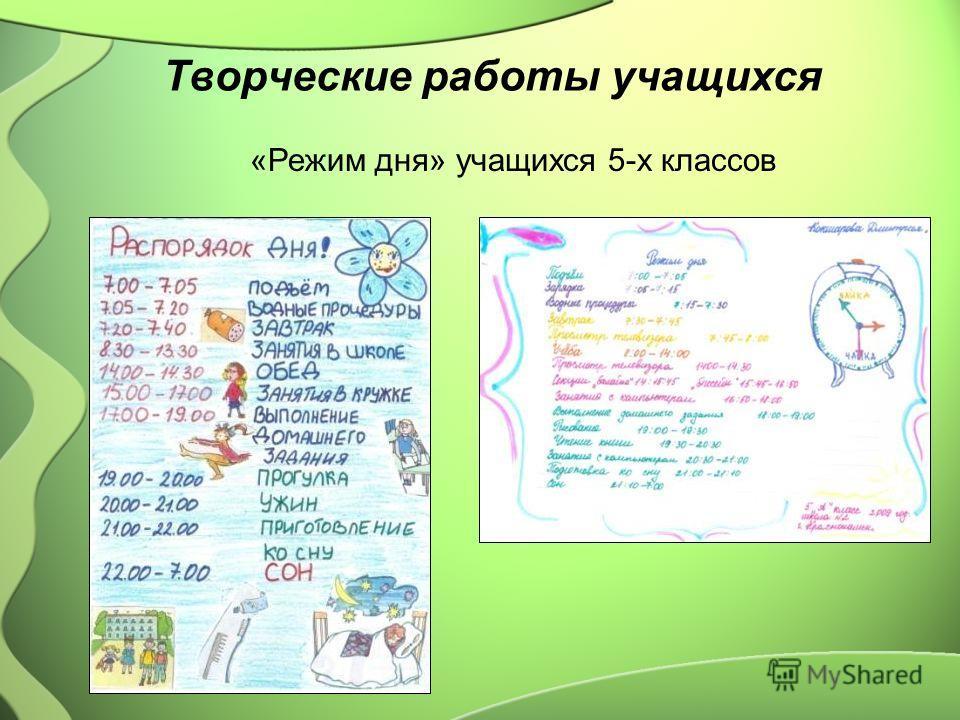 Творческие работы учащихся «Режим дня» учащихся 5-х классов