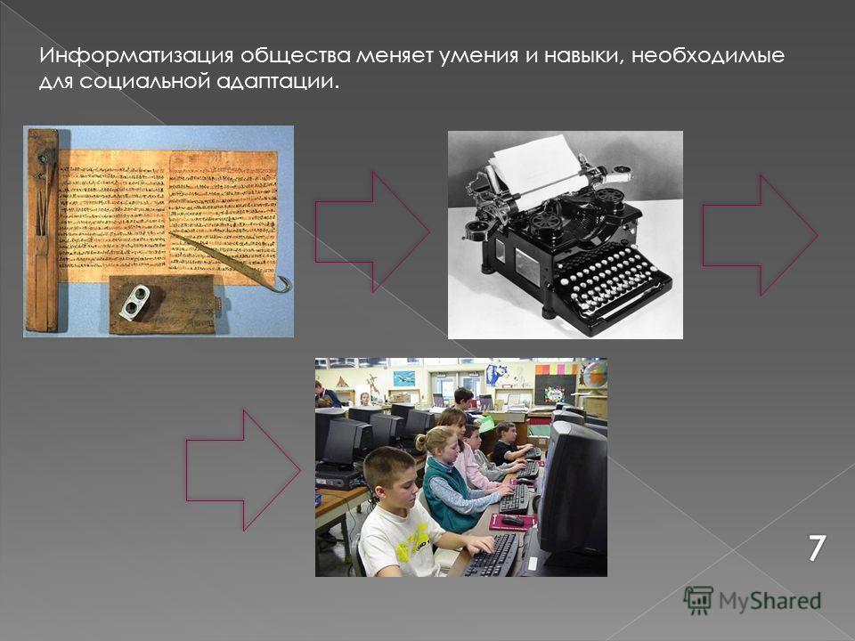 Информатизация общества меняет умения и навыки, необходимые для социальной адаптации.