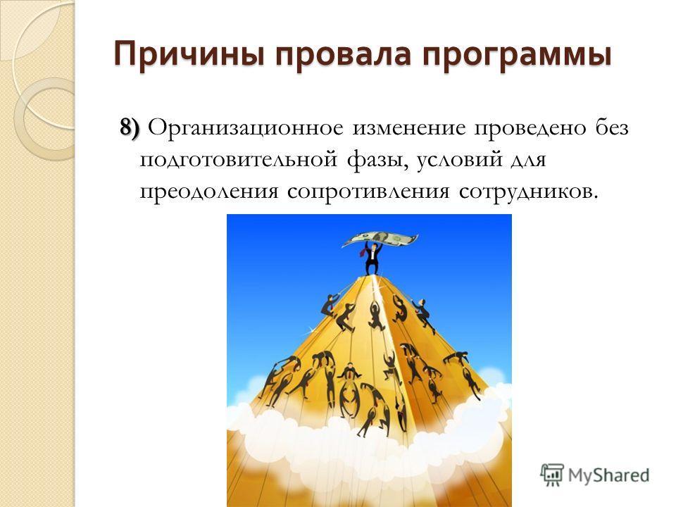 Причины провала программы 8) 8) Организационное изменение проведено без подготовительной фазы, условий для преодоления сопротивления сотрудников.