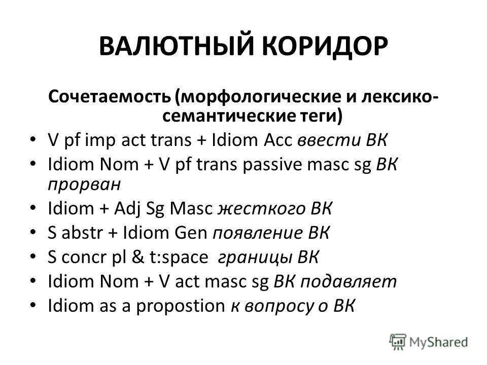 ВАЛЮТНЫЙ КОРИДОР Сочетаемость (морфологические и лексико- семантические теги) V pf imp act trans + Idiom Acc ввести ВК Idiom Nom + V pf trans passive masc sg ВК прорван Idiom + Adj Sg Masc жесткого ВК S abstr + Idiom Gen появление ВК S concr pl & t:s
