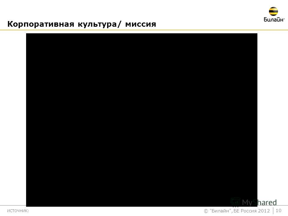 © Билайн, БЕ Россия 2012 Корпоративная культура/ миссия ИСТОЧНИК: 10
